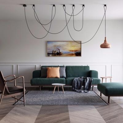 北欧布艺沙发休闲椅茶几书柜吊灯组合3D模型【ID:127769074】