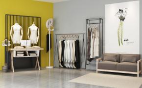 现代衣服展架沙发组合3D模型【ID:527798132】