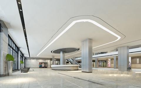 现代商场中庭服务台大厅3D模型【ID:120796725】