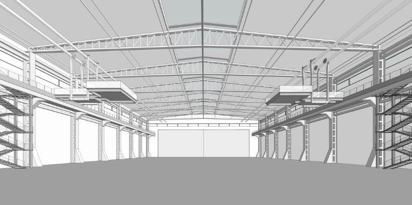 鋼結構框架工業廠房SU模型【ID:846369055】
