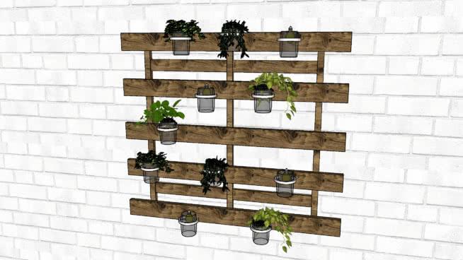 時髦的墻壁植物裝飾,裝飾性的鑲板,裝飾植物,裝飾性幾何懸垂播種機SU模型【ID:939838245】
