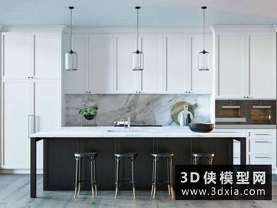 現代廚柜國外3D模型【ID:829360023】