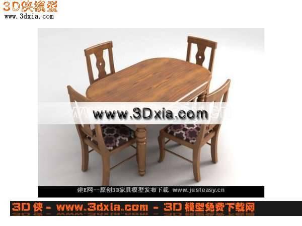 木制3D桌椅组合模型3D模型【ID:6602】