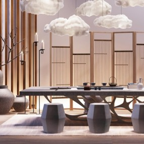 新中式书房茶室3D模型【ID:127844970】