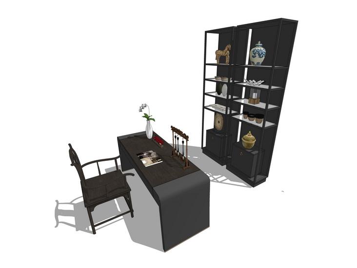中式书桌SU模型【ID:636397614】