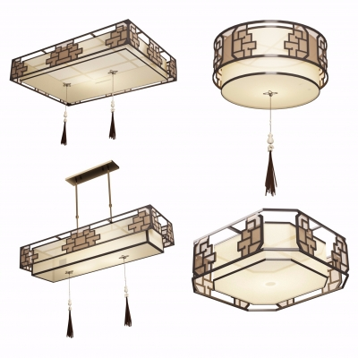 新中式金属吸顶灯吊灯组合3D模型【ID:627805064】