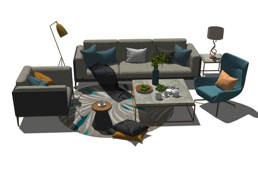 北歐風格客廳沙發茶幾組合SU模型【ID:436397121】