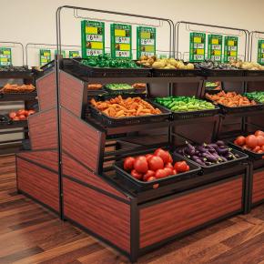 现代生鲜超市蔬菜展架货架3D模型【ID:927816269】