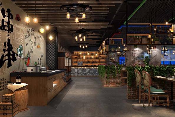 工业风餐厅3D模型【ID:124894808】