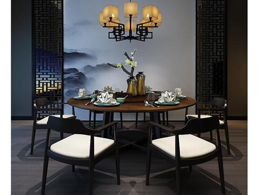 新中式餐厅桌椅组合3D模型【ID:327899460】