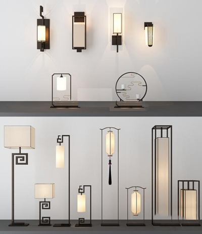 新中式台灯落地灯组合3D模型【ID:66829421】