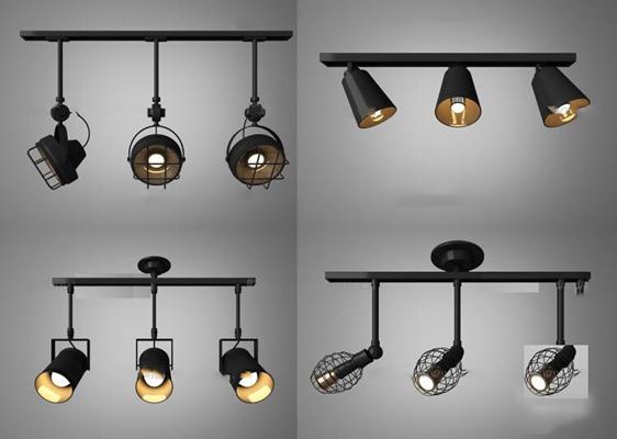 现代工业风金属射灯组合3D模型【ID:66846768】