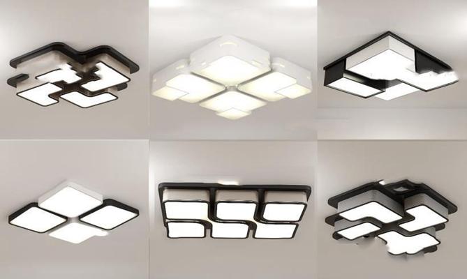 现代方形吸顶灯组合3D模型【ID:66850703】
