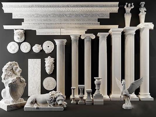 欧式罗马柱飞马雕花角线石膏构件3D模型【ID:66851894】