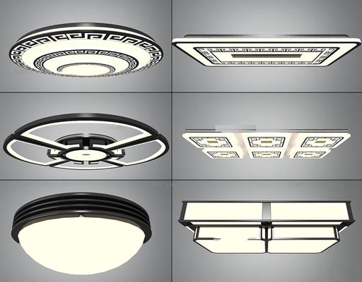 中式方形圆形吸顶灯组合3D模型【ID:66852002】