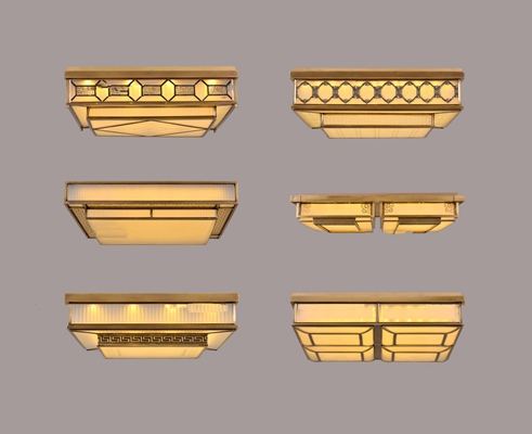 中式方形金属吸顶灯组合3D模型【ID:66863105】