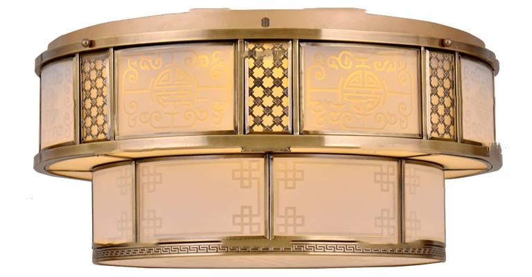 中式双层金属吸顶灯3D模型【ID:66869908】