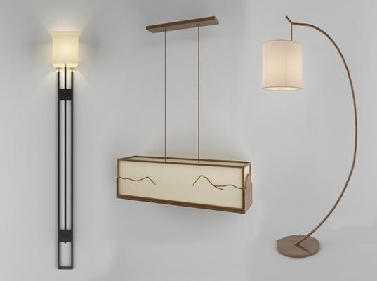 新中式实木吊灯壁灯落地灯组合3D模型【ID:66879324】