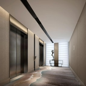 现代走廊电梯间3D模型【ID:66880624】