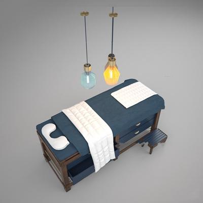 现代SPA护理按摩床吊灯组合3D模型【ID:66883791】
