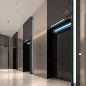 现代电梯间3D模型【ID:66884621】