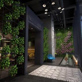 现代工业风咖啡厅入口3D模型【ID:66887924】