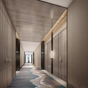 现代酒店过道走廊3D模型【ID:66887928】