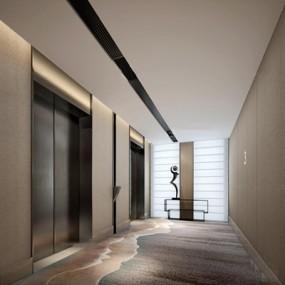 现代走廊电梯间3D模型【ID:66888021】