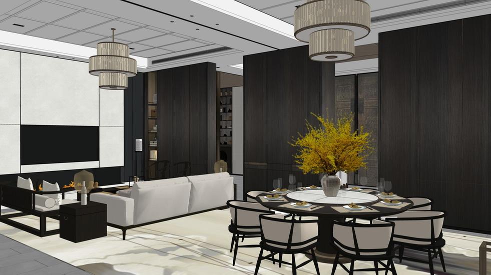 新中式别墅客厅餐厅室内设计SU模型【ID:936397856】