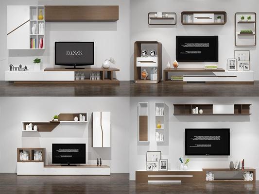 现代电视背景组合3D模型【ID:66960161】