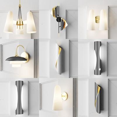 现代壁灯吊灯3D模型【ID:66960165】