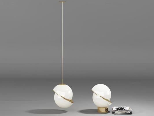 现代半球形吊灯台灯组合3D模型【ID:66965515】