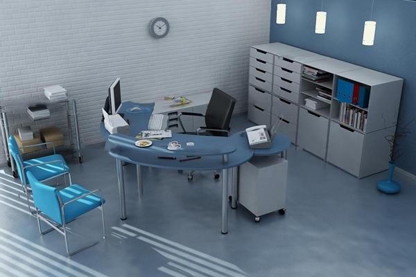 现代办公桌椅文件柜组合3D模型【ID:66983863】