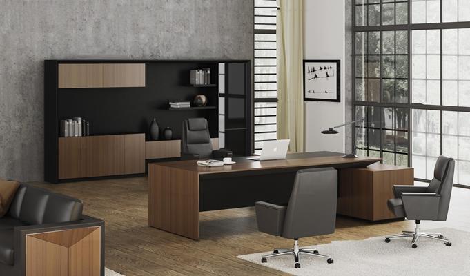 现代大班台办公桌椅组合3D模型【ID:66993663】