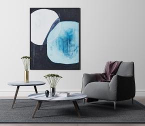 现代单人沙发茶几装饰画组合3D模型【ID:927820633】