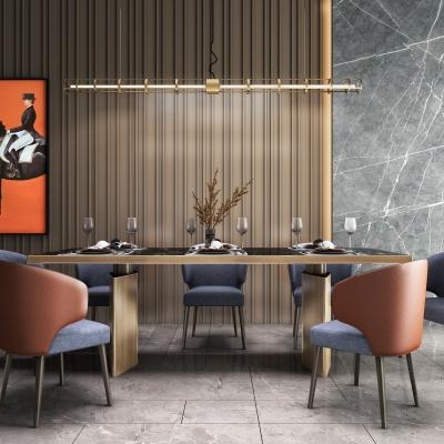 現代餐桌椅吊燈裝飾畫組合3D模型【ID:327790487】