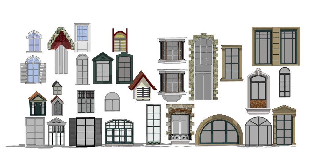 建筑窗户组合SU模型【ID:336397983】