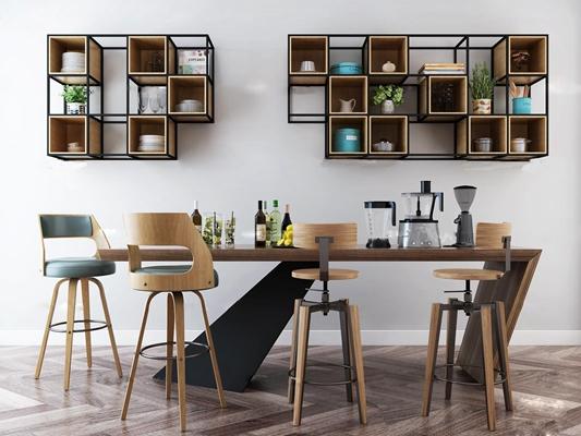 北欧吧台椅装饰架组合3D模型【ID:67000236】