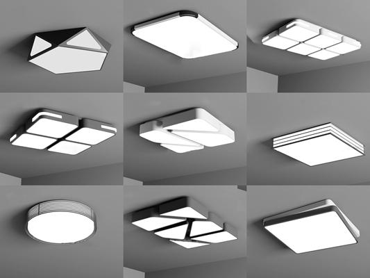 现代吸顶灯组合3D模型【ID:67004001】