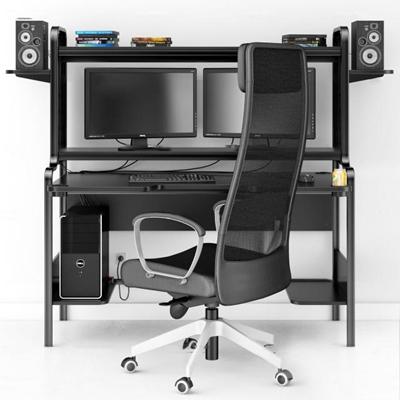现代简易电脑办公桌椅组合3D模型【ID:67006868】
