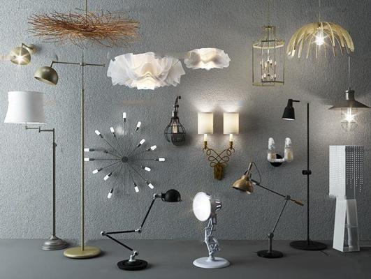 现代金属吊灯壁灯落地灯组合3D模型【ID:67015827】