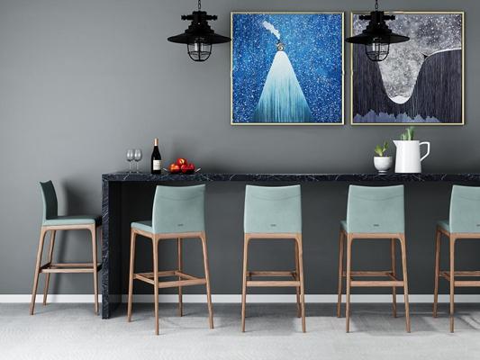 北欧吧台吧椅装饰画吊灯组合3D模型【ID:67029031】