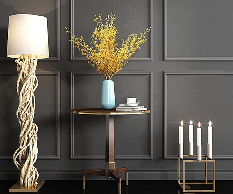 现代圆几花瓶烛台树根落地灯组合3D模型【ID:67032420】