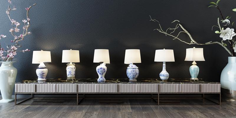 新中式青花瓷台灯组合3D模型【ID:67033211】