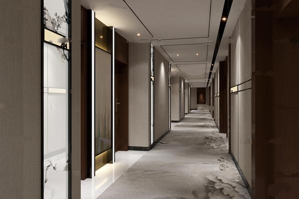 中式酒店走廊通道3D模型【ID:67040524】