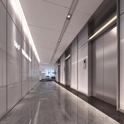 现代酒店电梯厅3D模型【ID:67058720】