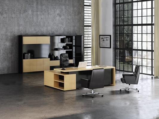 现代办公桌班台书柜3D模型【ID:67058968】