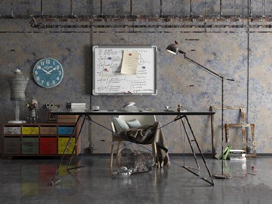 工业风办公桌斗柜落地灯组合3D模型【ID:67060064】