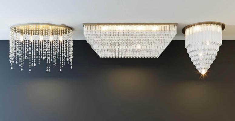 现代水晶吸顶灯组合3D模型【ID:67063808】