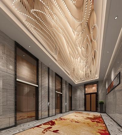 现代酒店电梯厅3D模型【ID:67069021】